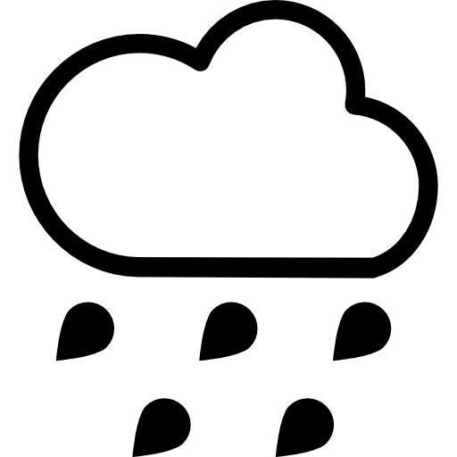 512x512 Rain Weather Symbol Of Outlined Cloud With Falling Raindrops Icons