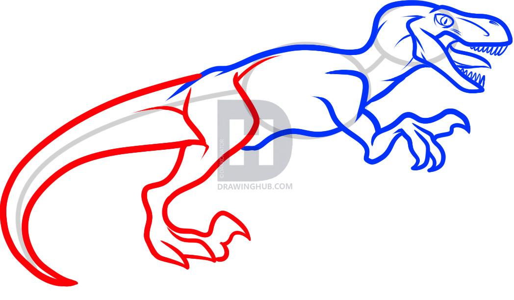 1048x611 how to draw a velociraptor dinosaur, step