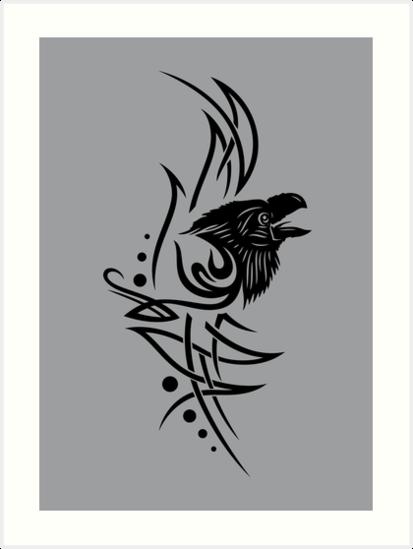 413x549 Tribal, Tattoo With Raven Head Art Prints