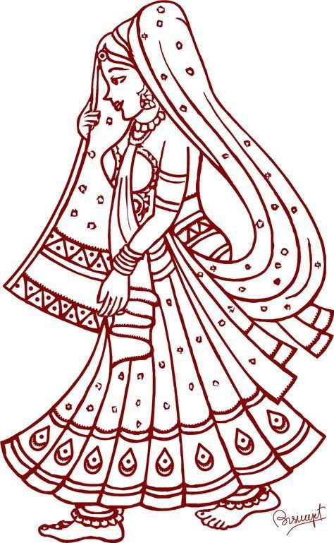 474x769 Elegant Madhubani Art Coloring Pages