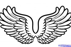 236x157 Angel Wing Vector Drawing Tutorial Tattoo Realistic Simple