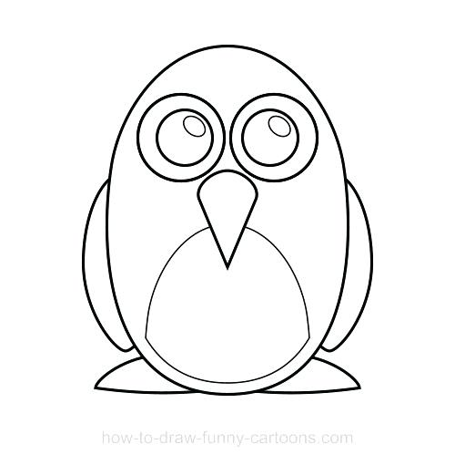 500x510 Easy Penguin Drawing Easy Baby Penguin Drawing