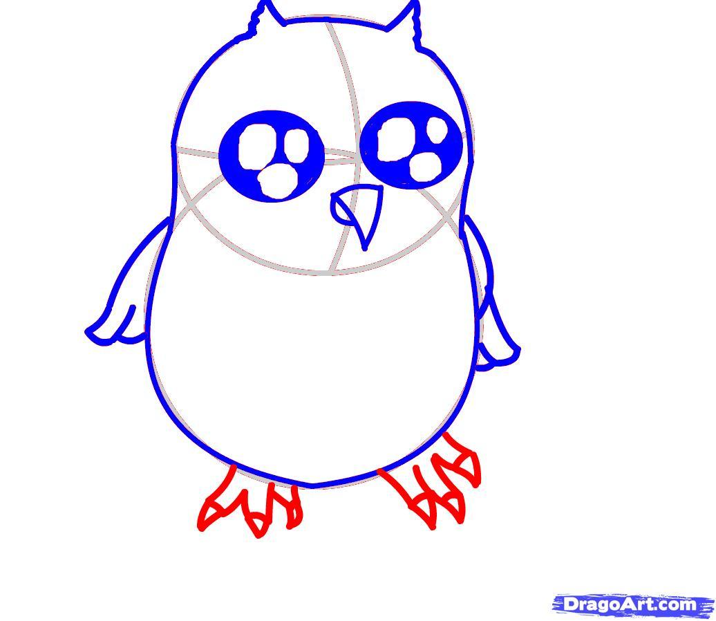 1036x898 Draw A Baby Owl, Step
