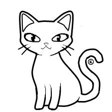 225x225 Realistic Coloring Pages Of Cats Touch Lively Cat Clipart Black