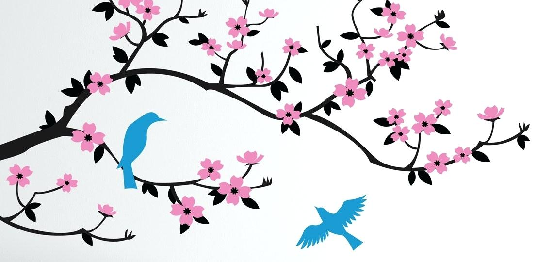 1140x540 Cherry Blossom Branch Outline Realistic Vector Nameart