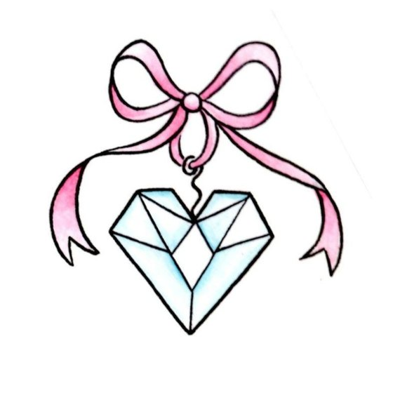 570x570 Diamond Heart Temporary Tattoo
