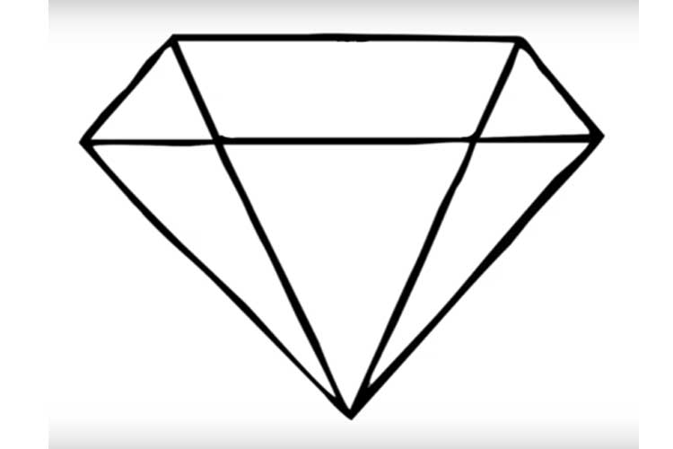 750x500 How To Draw A Diamond Shape,ring And Realistic Brilliant
