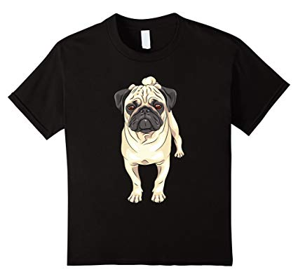 425x398 Kids Cute Pug Realistic Dog Drawing T Shirt Black