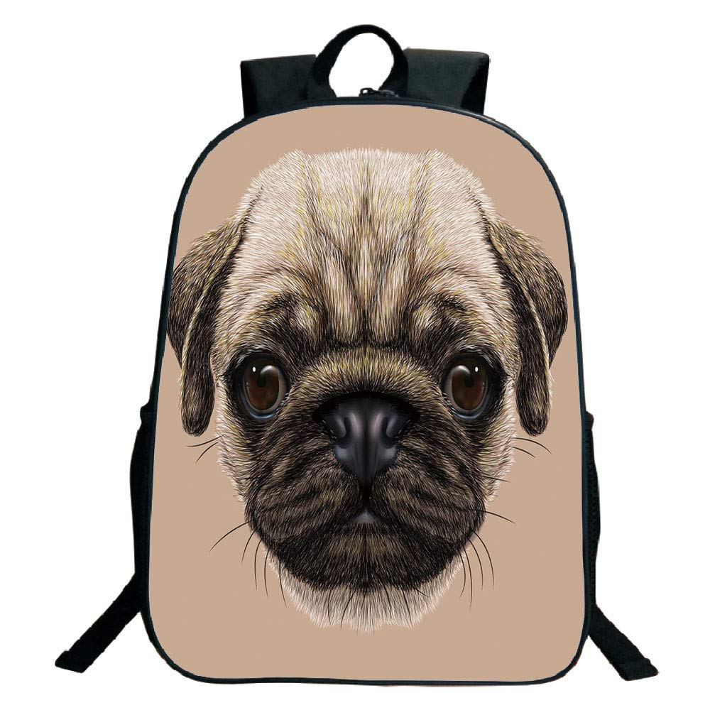 1000x1000 Print Design Black School Bag,backpackspug,detailed