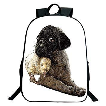 355x355 Print Black School Bag,backpackspug,realistic Drawing