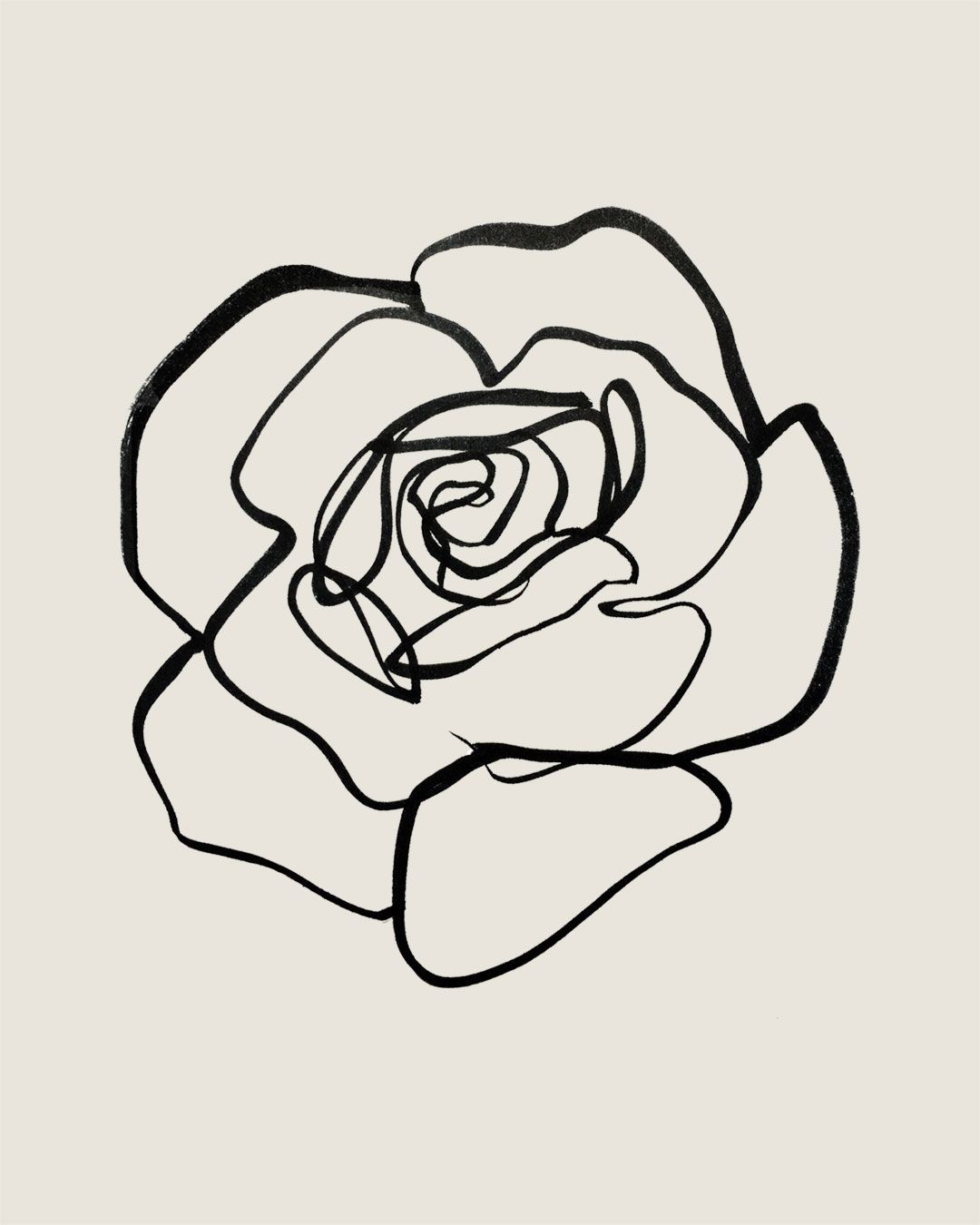 1080x1350 Continuous Line Rose, Sumi Ink On Paper