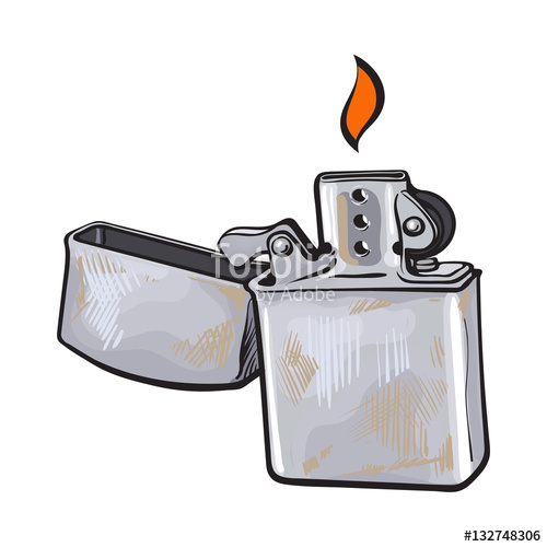 500x500 Silver Metal Windproof Lighter With Flame, Sketch Vector