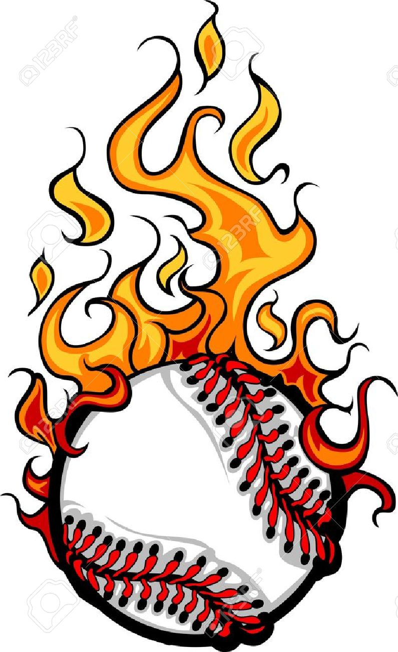 795x1300 Softball With Flames Clipart Flame Clipart Softball