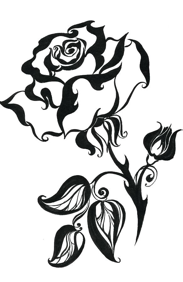 583x900 Drawings Of Roses Rose Drawing Outline Gallery Of Realistic Rose