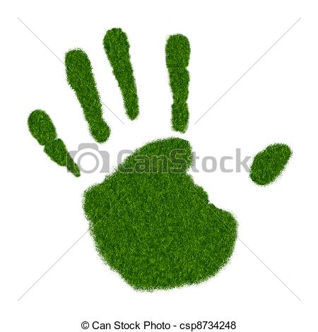 450x470 grass handprint realistic illustration of left handprint