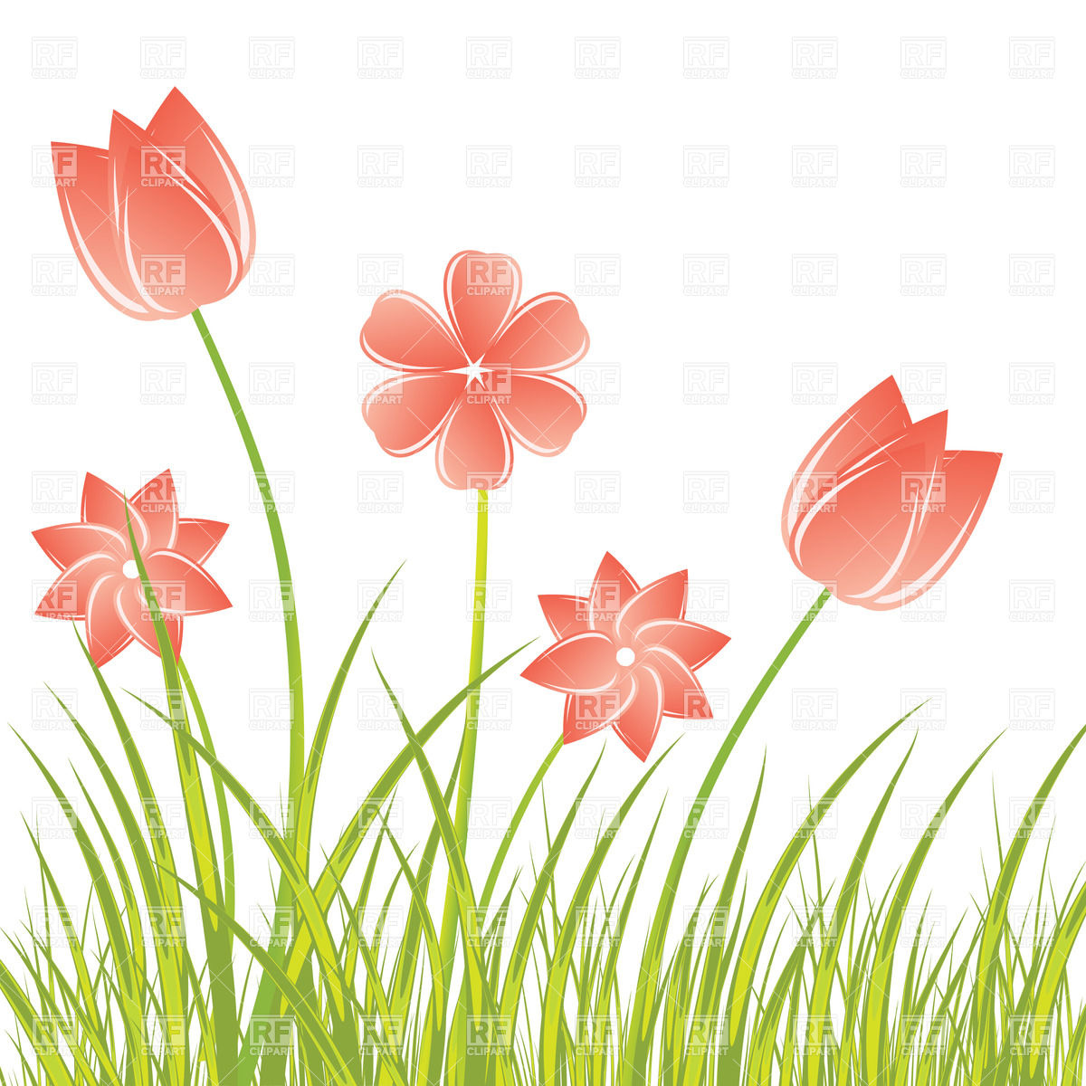 1200x1200 Stylized Hand Drawn Flowers In The Fresh Grass Vector Image