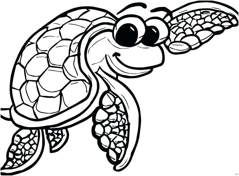 827x609 Cute Baby Sea Turtle Coloring Pages