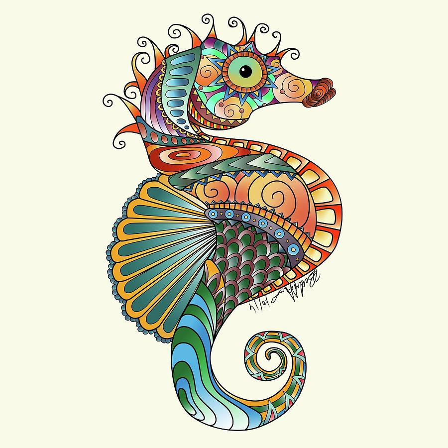 900x900 Seahorse Drawing