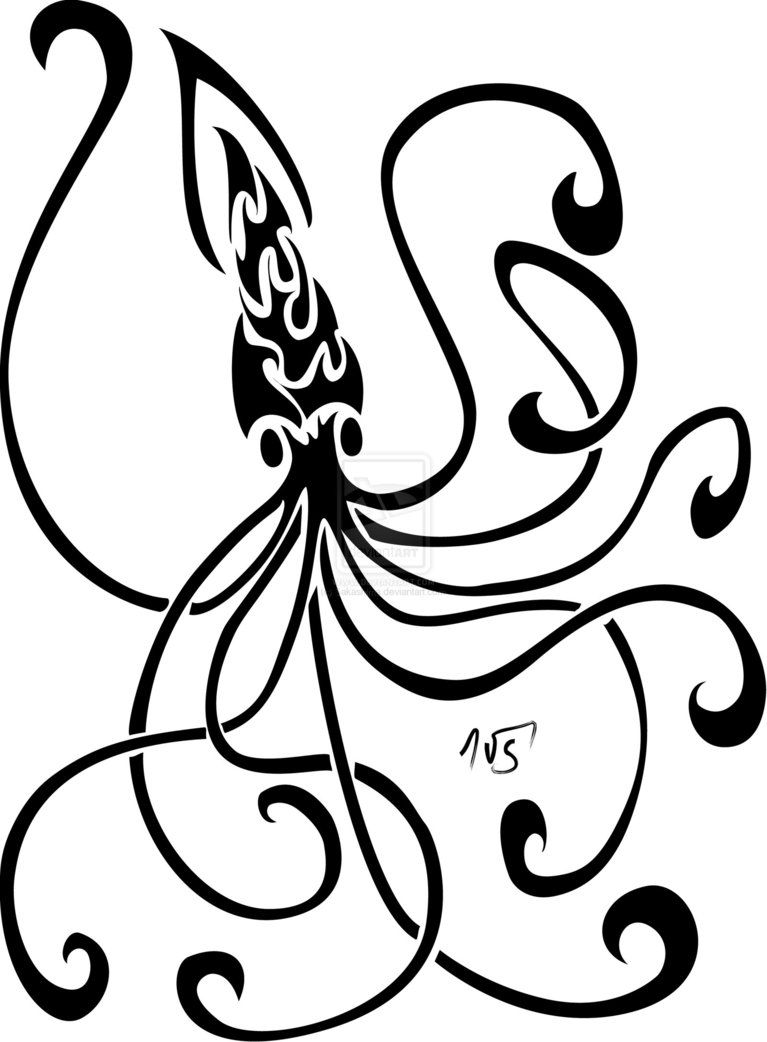 767x1042 squid idea for glass or henna just because i like it squid