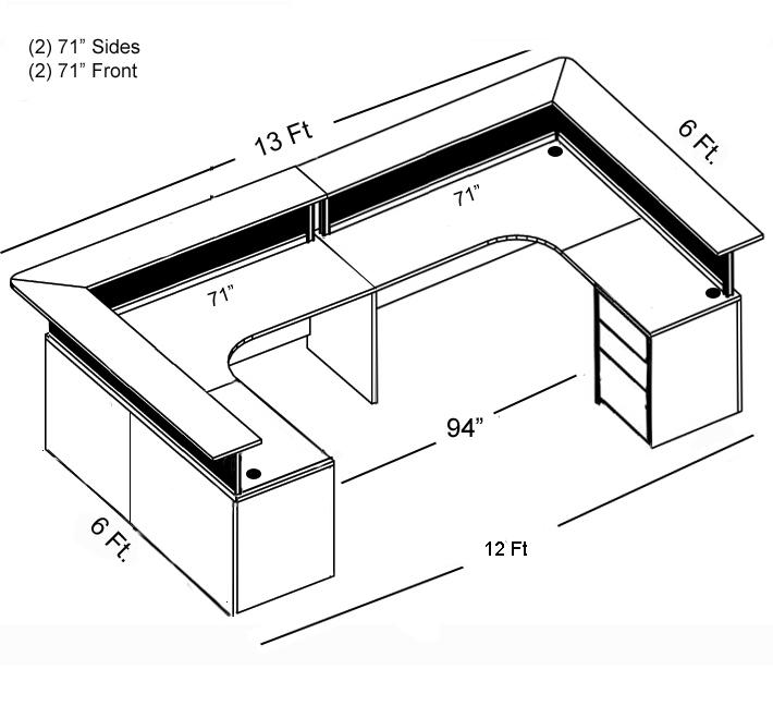 710x648 border double reception desk, person reception desks