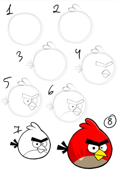 501x734 Draw The Red Angry Bird Artsy How To Drawings, Bird Drawings, Art