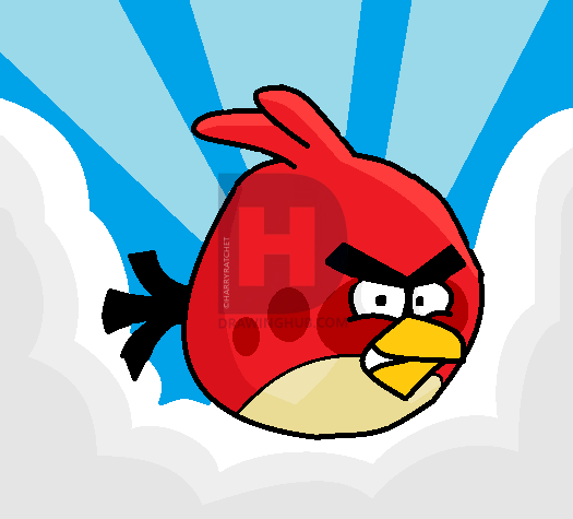 525x475 How To Draw Red Angry Bird, Step