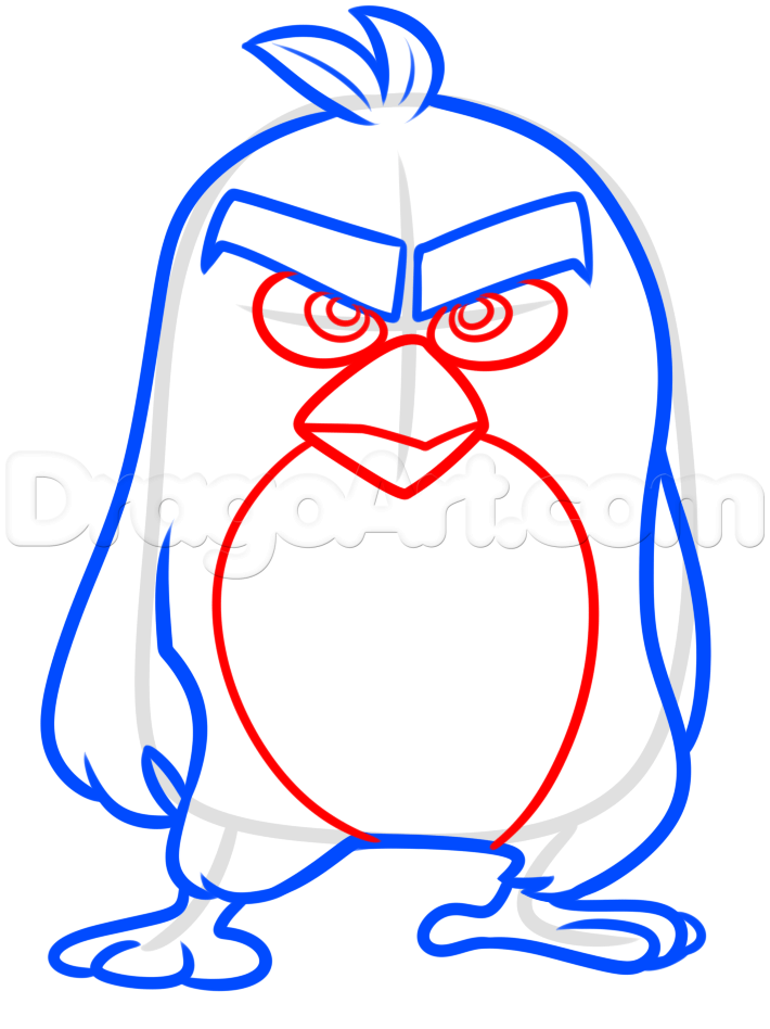 710x948 How To Draw Red From The Angry Birds Movie, Step