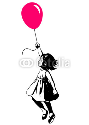 283x400 Little Girl Floating With A Red Balloon, Street Art Graffiti Style