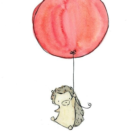 570x570 My Red Balloon Hegdehog Nursery Art Print