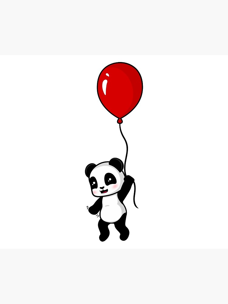 750x1000 Red Balloon Panda Wall Tapestry