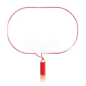 299x300 Red Pencil Drawing Oblong Speech Balloon Stock Vectors