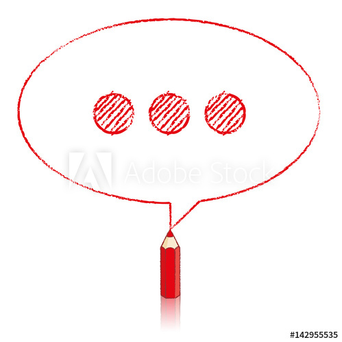499x500 Red Pencil Drawing Oval Speech Balloon With Ellipsis