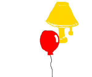 300x250 Red Balloon Under A Lamp Drawing