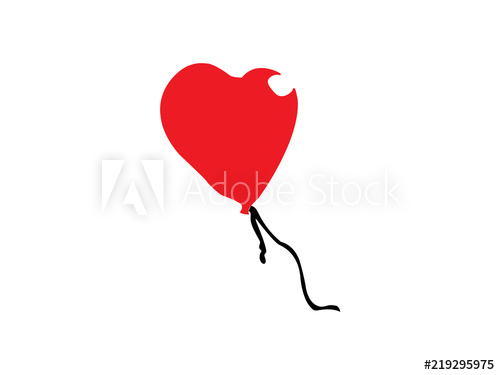 500x375 Red Floating Heart Balloon Drawing Illustration