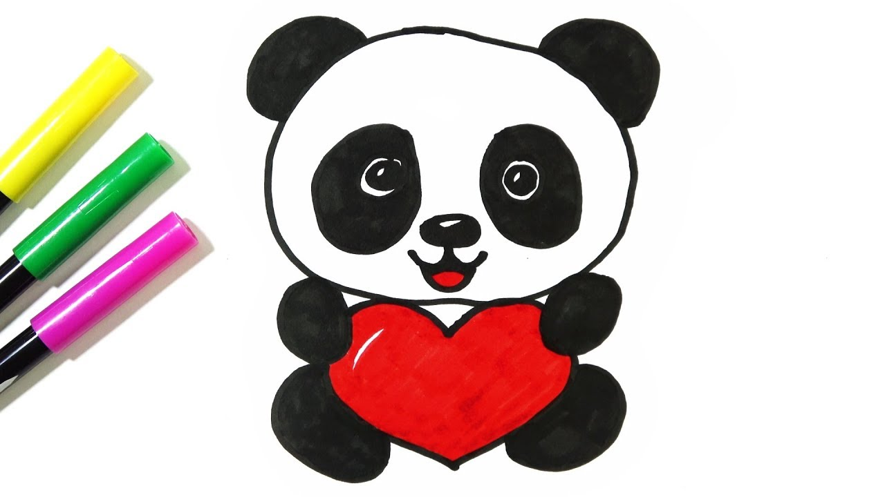 1280x720 How To Draw A Cute Panda Holding A Heart Hde