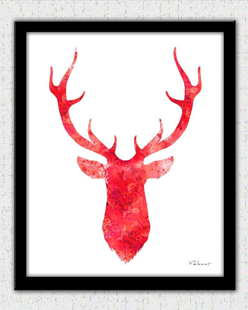 794x993 red deer head deer head print deer head art stag print etsy
