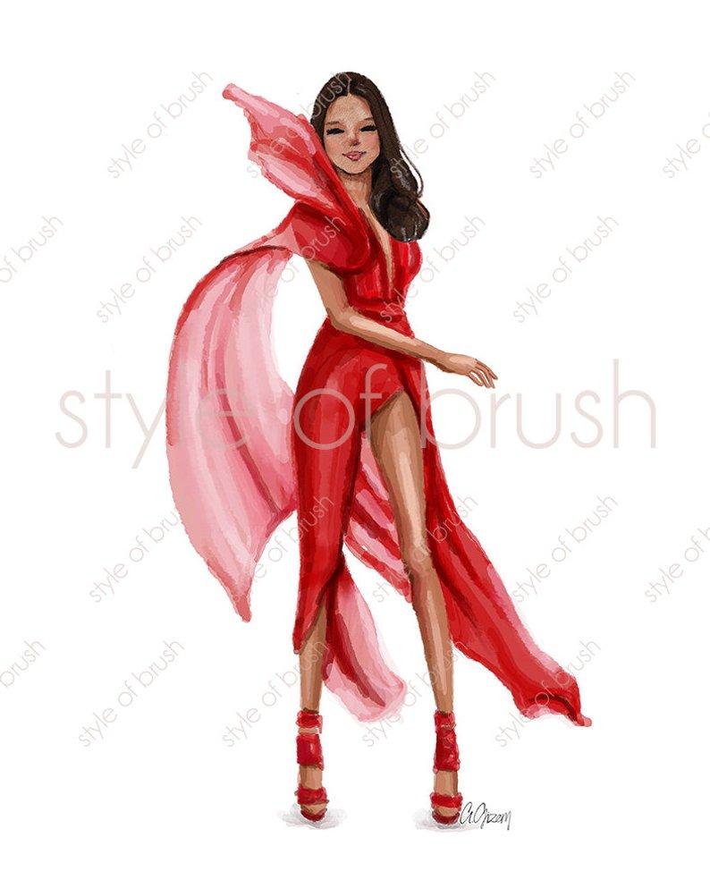 794x993 Fashion Girl Red Dress Fashion Illustration Digital Etsy