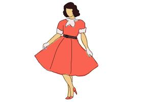 300x200 How To Draw A Girl In A Dress Easy