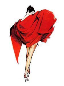 224x300 Art Print Poster Painting Portrait Woman Red Dress Hose Stocking