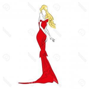 300x300 Photostock Vector Vector Fashion Sketch Beautiful Blonde Model