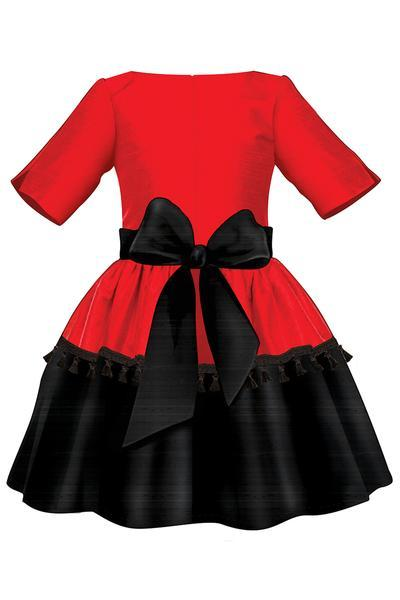 400x600 Red Black Taffeta Girls Dress With Tassels And Black Tulle