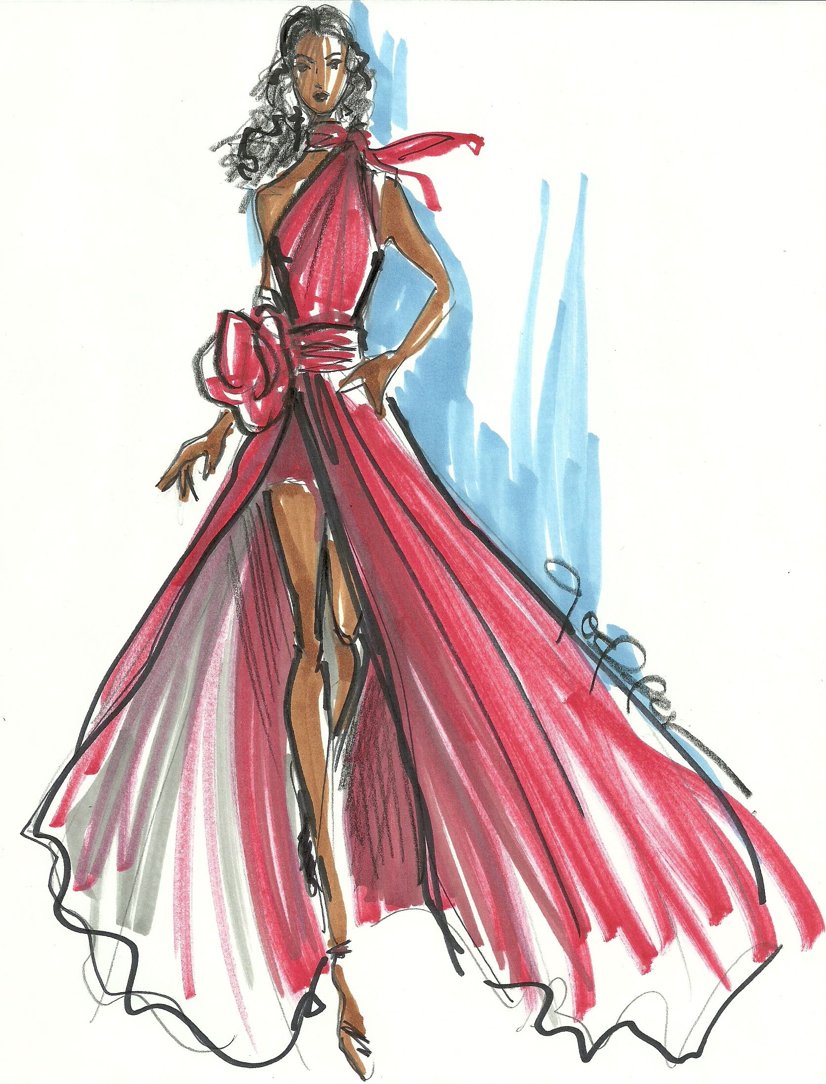 1672x2195 The Heart Truth Fashion Show Red Dress Sketch