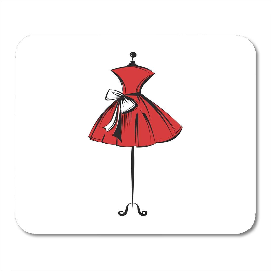 1100x1100 Nakamela Mouse Pads Sketch Red Dress Ball Gown Short