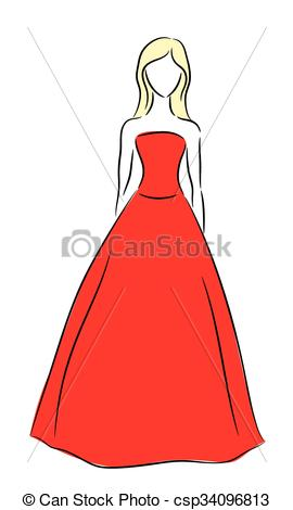 270x470 vector outline of a girl in red dress vector outline of a girl