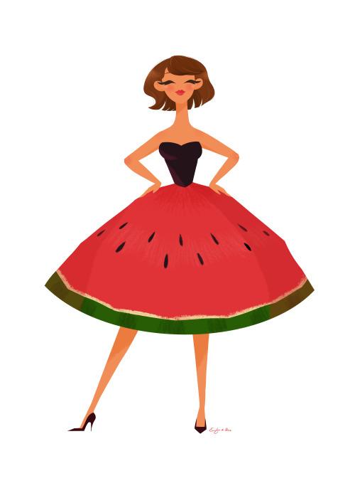 500x707 Drawing Illustration Art Red Hair Girl Cute Happy Fashion Dress