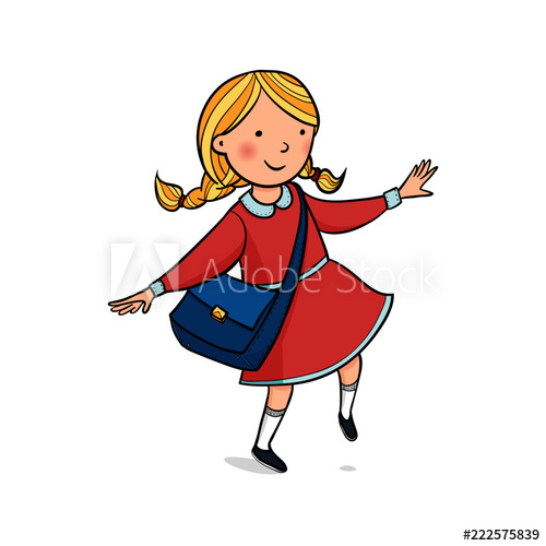 500x500 Hand Drawing Vector Clip Art With Girl Girl Rides In A Red Dress