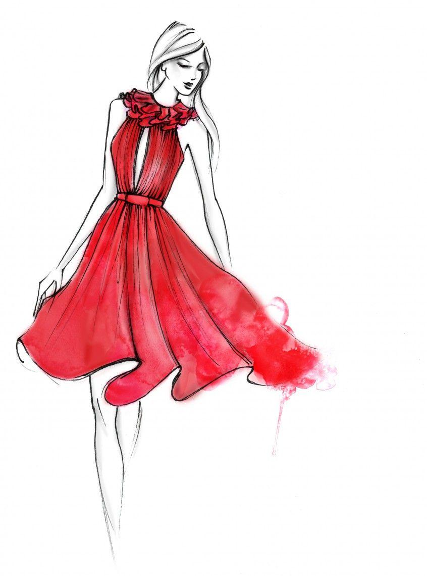 846x1140 Red Dress Art In Fashion Design Drawings, Fashion Design