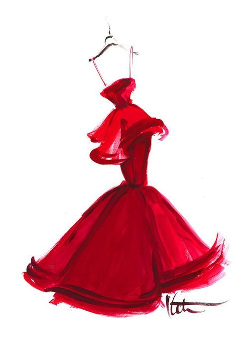 500x702 Red Dress Sketches, Drawings And Prints Fashion Illustration