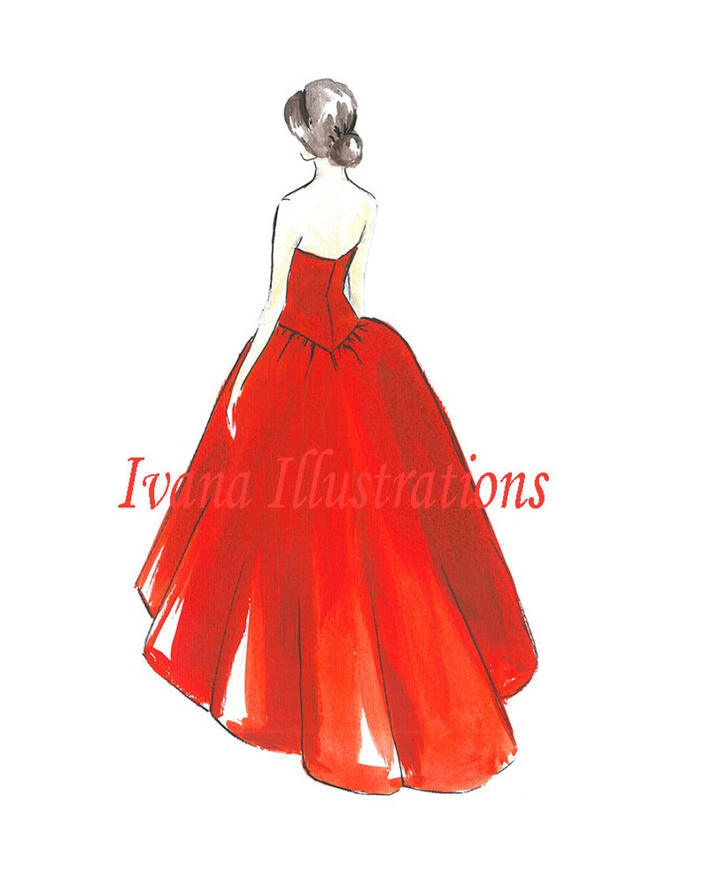 794x993 Christmas Winter Gowns Fashion Illustration Red Gown Light Etsy