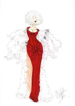 247x350 Fashion Art Red Dress Illustration
